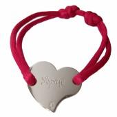 Bracelet cordon coeur 15 mm (or blanc 750°) - Loupidou
