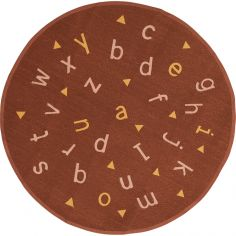 Tapis Alphabet rond terracotta (135 x 135 cm)