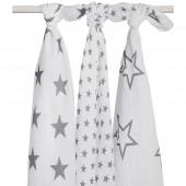 Lot de 3 maxi langes hydrophiles Little star étoile gris anthracite (115 x 115 cm) - Jollein