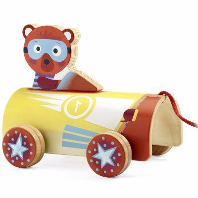 Jouet à tirer ours en voiture RoliLewis  par Djeco