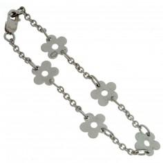 Bracelet Les Evolutifs 13,5 cm 5 petites marguerites 7 mm (or blanc 750°)