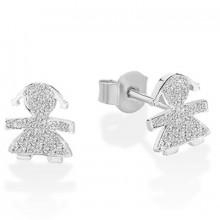Boucles d'oreilles Briciole fille (or blanc 750° et pavé de diamants)  par leBebé