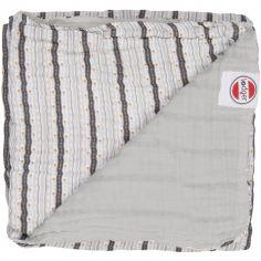 Couverture bébé en coton Dreamer Xandu Mist rayure gris (120 x 120 cm)
