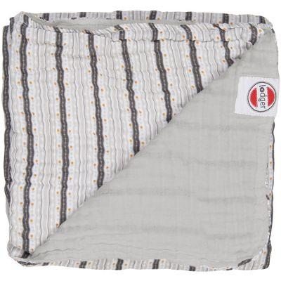 Couverture bébé en coton Dreamer Xandu Mist rayure gris (120 x 120 cm)  par Lodger