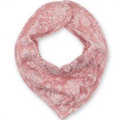 Bavoir bandana rose à fleurs Idyle