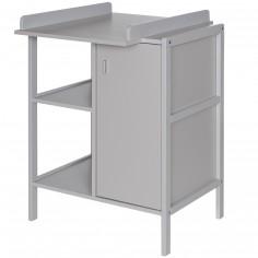 Table à langer Robby 1 porte 2 étagères gris clair