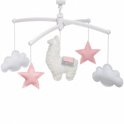 Mobile musical lama gris et rose (mélodie au choix)