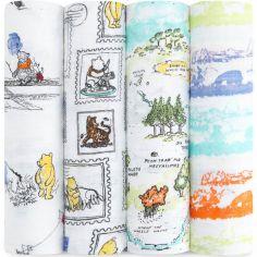 Lot de 4 maxi langes classiques Winnie The Pooh (120 x 120 cm)