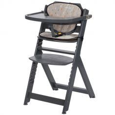Chaise haute évolutive Timba grise avec coussin Warm Grey