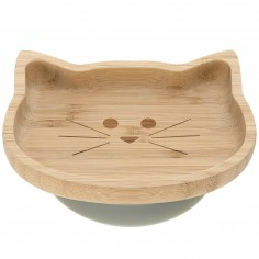 Assiette ventouse en bambou chat Little Chums