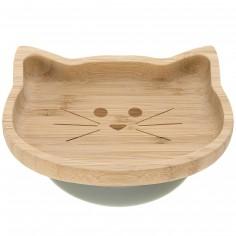Assiette ventouse en bambou chat Little Chums