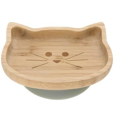 Assiette ventouse en bambou chat Little Chums  par Lässig
