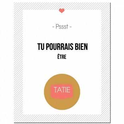Carte à gratter Annonce de grossesse Version Encadrée Tatie   par Les Boudeurs