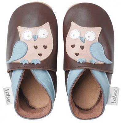 Chaussons bébé cuir Soft soles hibou garçon (9-15 mois)  par Bobux