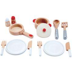 Set de service dînette en bois blanc (13 pièces)