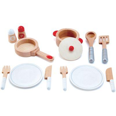 Set de service dînette en bois blanc (13 pièces) Hape
