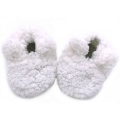 Chaussons de naissance ours en sherpa blanc (0-6 mois)