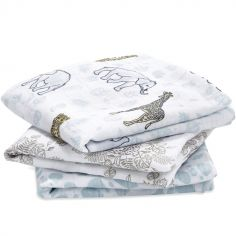 Lot de 3 langes en coton Jungle (70 x 70 cm)