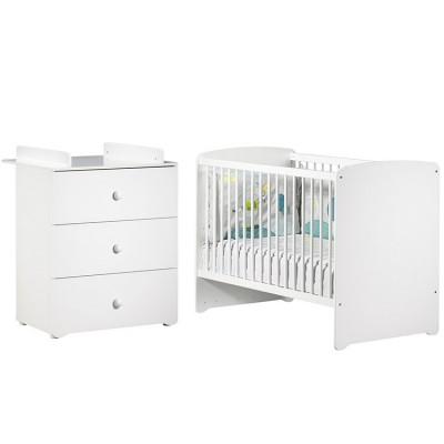 pack duo lit b b t tes panneaux blanc et commode langer. Black Bedroom Furniture Sets. Home Design Ideas