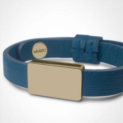 Bracelet cuir Hip-Hop Bleu jean (or jaune 750° et cuir)  par Mikado
