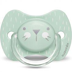 Sucette anatomique réversible Hygge Baby moustaches lapin vert (0-6 mois)