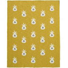 Couverture en coton bio ananas moutarde (100 x 150 cm)