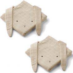 Lot de 2 langes en coton bio Hannah Rabbit sandy (70 x 70 cm)