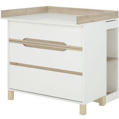 Commode à langer 3 tiroirs et petite bibliothèque mobile blanc Céleste  par Galipette