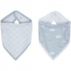 Lot de 2 bavoirs bandana Lovely Sky
