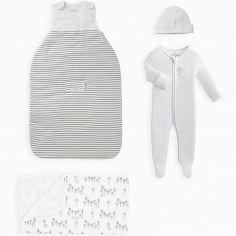 Coffret de naissance sommeil en coton bio et bambou Grey stripe (0-3 mois)