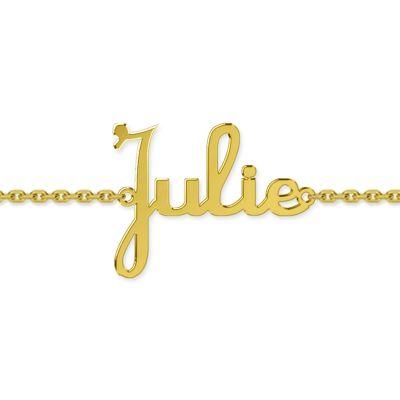 Bracelet bébé prénom découpé police script (or jaune 375°)  par Louis de l'Ange