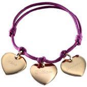 Bracelet cordon Petits coeurs (plaqué or jaune) - Petits trésors