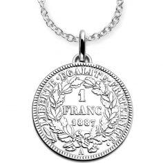 Collier chaîne 80 cm médaille 1 franc 1887 30 mm recto verso (argent 925°)
