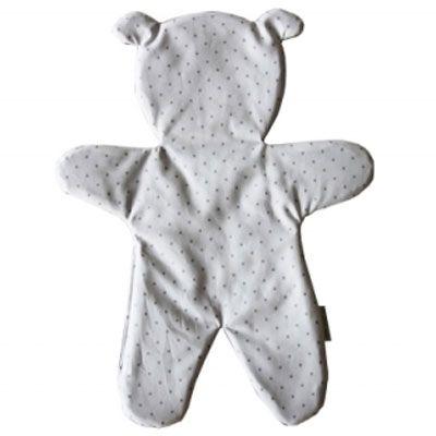 Doudou plat ours blanc pois argent (33 cm) Le petit rien