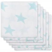 Lot de 6 langes hydrophiles Little star étoile turquoise (70 x 70 cm) - Jollein