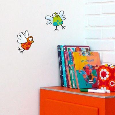 Stickers 2 oiseaux orange et vert  par Série-Golo