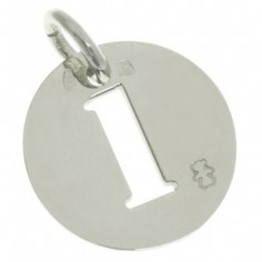 Pendentif Lucky number rond 17 mm (or blanc 750°)