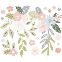 Grand sticker fleurs grappes (74 x 62 cm)