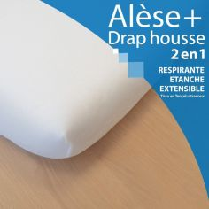Alèse drap housse 2 en 1 blanc (40 x 80 cm)