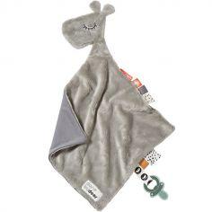 Doudou plat attache sucette Raffi la girafe gris (30 cm)