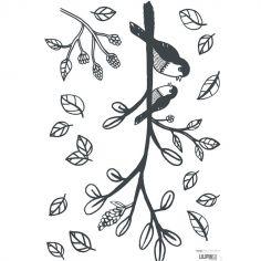 Planche de stickers A3 de branche oiseaux