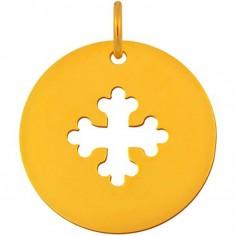 Médaille Signes Croix Occitane bélière 16 mm (or jaune 750°)