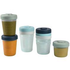 Lot de 8 pots de conservation bleu et vert (150 ml et 250 ml)