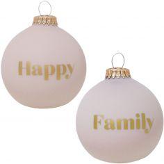 Boule de Noël rose poudré Happy / Family