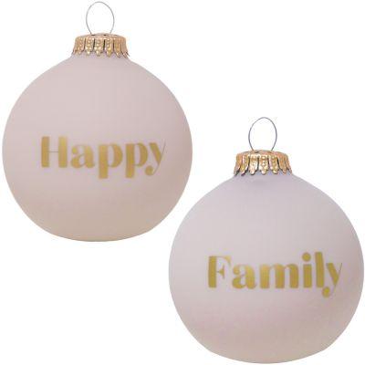 Boule de Noël rose poudré Happy / Family  par Baubels