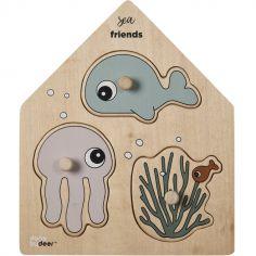 Puzzle à encastrer en bois Sea Friends (3 pièces)