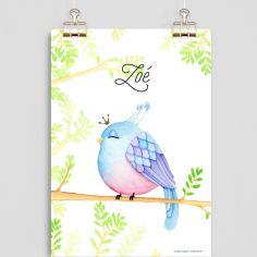 Affiche A4 Oiseau bleu (personnalisable)