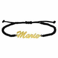 Bracelet macramé police brush script personnalisable (plaqué or)