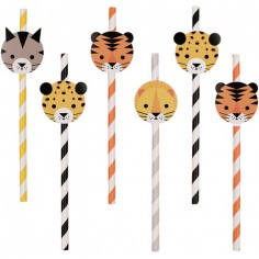 Lot de 12 pailles félin The Eye of the Tiger