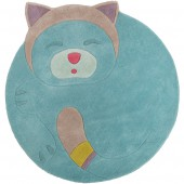Tapis en laine rond turquoise chat Les pachats (125 x 110 cm) - Moulin Roty